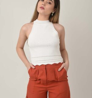 Crop top tejido blanco